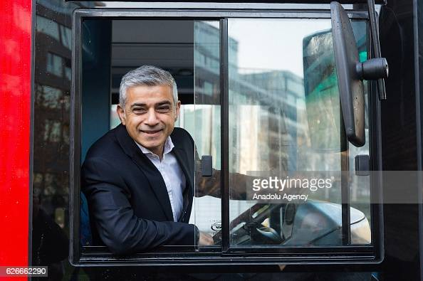 London mayor Sadiq Khan makes a keynote speech at the International Zero Emission Bus Conference and Summit in November 30 2016 in London United...