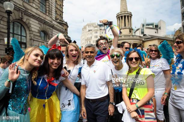 London Mayor Sadiq Khan poses for a photo with attendees at the Pride in London Festival on July 8 2017 in London England The Pride in London...