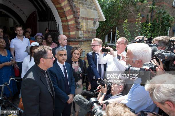London Mayor Sadiq Khan with Vicar Alan Everett outside St Clements Church following Sunday morning service on the 18th June 2017 in North Kensington...