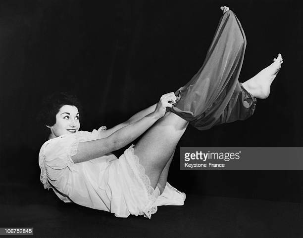 London Model Gillian Kenway Tries A Pair Of Red Bloomers In 1958