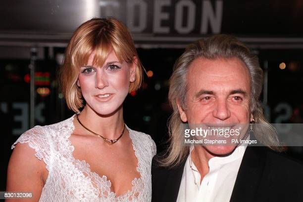 London nightclub owner Peter Stringfellow and friend Deborah outside the Odeon cinema in London's Leicester Square for the Premiere of British film...