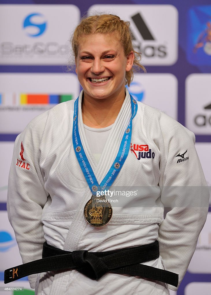 London Olympic champion, <a gi-track='captionPersonalityLinkClicked' href=/galleries/search?phrase=Kayla+Harrison&family=editorial&specificpeople=7179048 ng-click='$event.stopPropagation()'>Kayla Harrison</a> of the USA, enjoys being on top of the podium again after receiving the u78kg gold medal during the Dusseldorf Grand Prix on Sunday, February 22 2015 at the Mitsubishi Electric Halle, Dusseldorf, Germany.