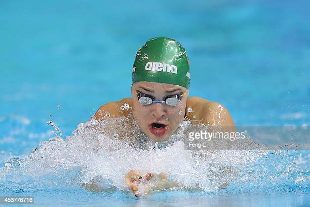 London Olympic champion Ruta Meilutyte of Lithuania competes in the Women's 50m Breaststroke Final on day two of Nanjing 2014 Summer Youth Olympic...