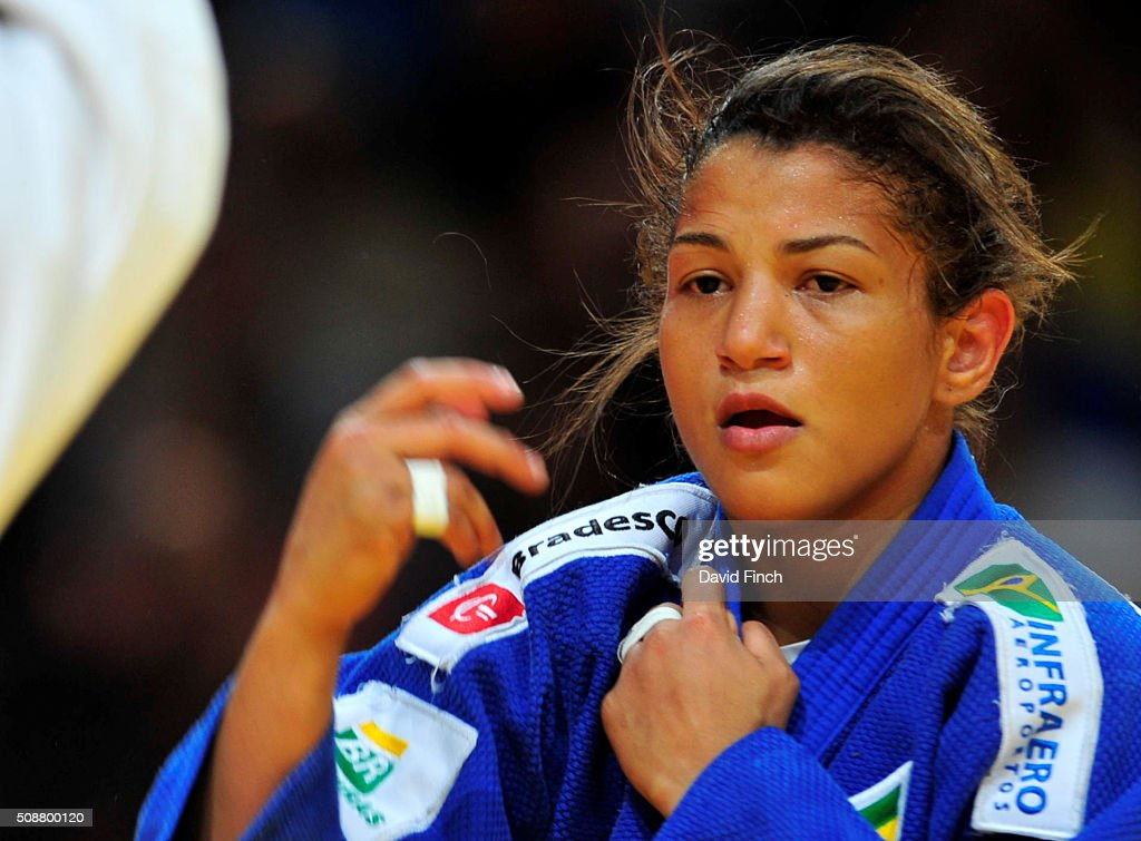 London Olympic champion Sarah Menezes of Brazil eventually won the u48kg bronze medal during the 2016 Paris Judo Grand Slam February 6 2016 at the...