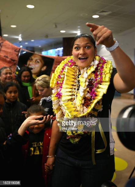 London Olympic Games gold medallist Valerie Adams of New Zealand returns home at Auckland International Airport on September 19 2012 in Auckland New...