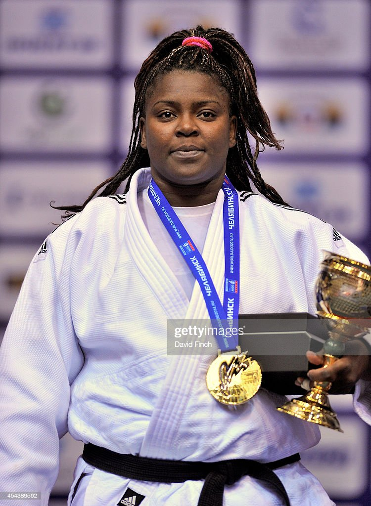 London Olympic gold medallist and now o78kg gold medallist, <a gi-track='captionPersonalityLinkClicked' href=/galleries/search?phrase=Idalys+Ortiz&family=editorial&specificpeople=5492242 ng-click='$event.stopPropagation()'>Idalys Ortiz</a> of Cuba stands on the podium during the Chelyabinsk Judo World Championships at the Sport Arena 'Traktor' on August 30, 2014 in Chelyabinsk, Russia.