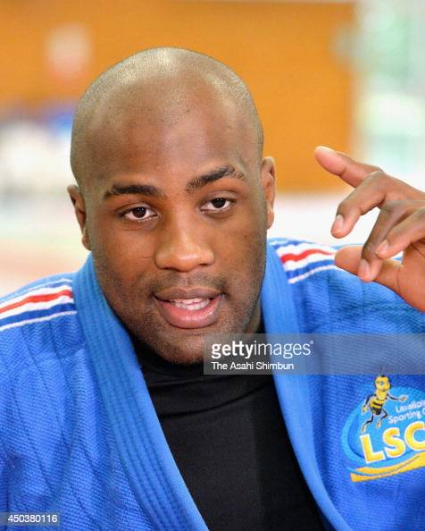 London Olympic Judo Open weight gold medalist Teddy Riner of France speaks after joining a training session of the Judo Japanese National team...