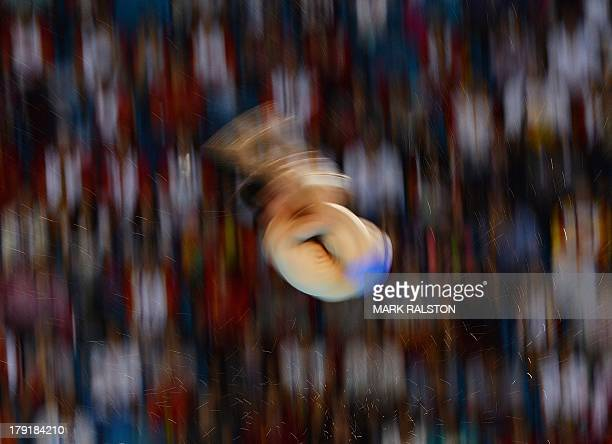 London Olympics Silver medalist Qiu Bo of China competes before winning the final of the 10m Mens Platform during the 12th National China Games at...