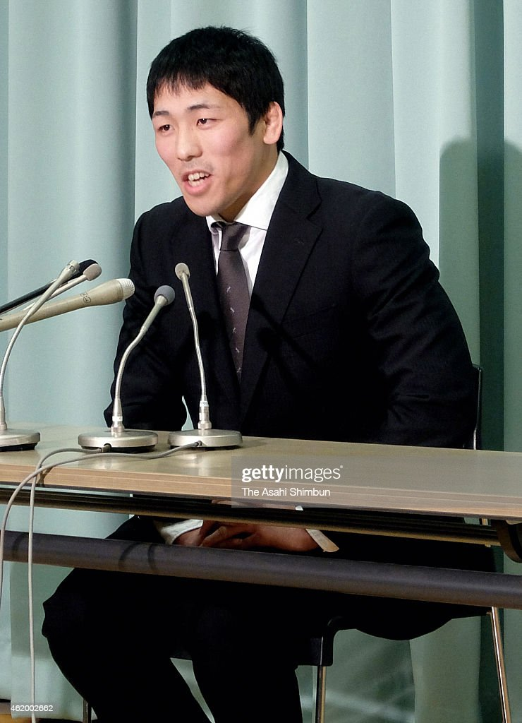 London Olympics Wrestling Men's Freestyle 66kg gold medalist Tatsuhiro Yonemitsu speaks during a press conference on his retirement at Kishi Memorial...