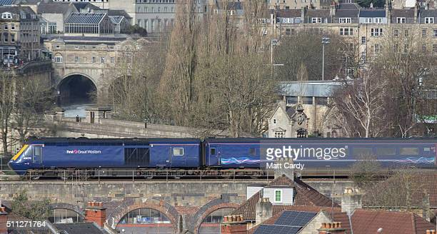 London Paddington bound train leaves Bath Spa station on the Great Western railway line on February 19 2016 in Bath England The electrification of...