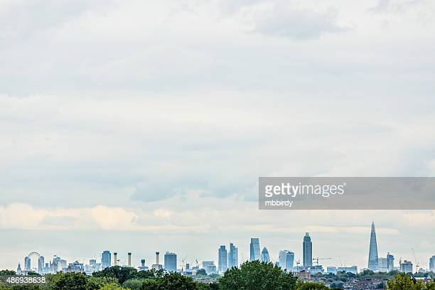 London panorama with main tourist attractions and copy space