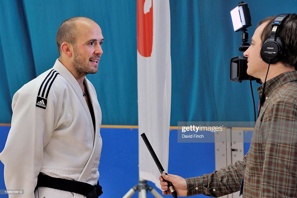 London Paralympic silver medallist, Sam Ingram, is interviewed for a television program during the British Junior Judo Championships on Sunday, January 20, 2013 at the English Institute of Sport, Sheffield, England, UK.