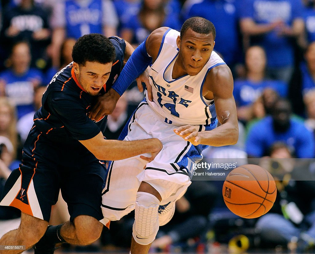 London Perrantes #23 of the Virginia Cavaliers battles for a loose ball with <a gi-track='captionPersonalityLinkClicked' href=/galleries/search?phrase=Rasheed+Sulaimon&family=editorial&specificpeople=7887134 ng-click='$event.stopPropagation()'>Rasheed Sulaimon</a> #14 of the Duke Blue Devils during a game at Cameron Indoor Stadium on January 13, 2014 in Durham, North Carolina.