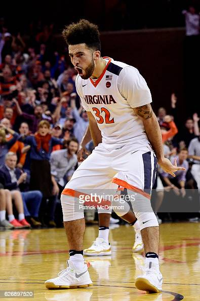 London Perrantes of the Virginia Cavaliers celebrates after making a three point basket in the second half during a game against the Ohio State...