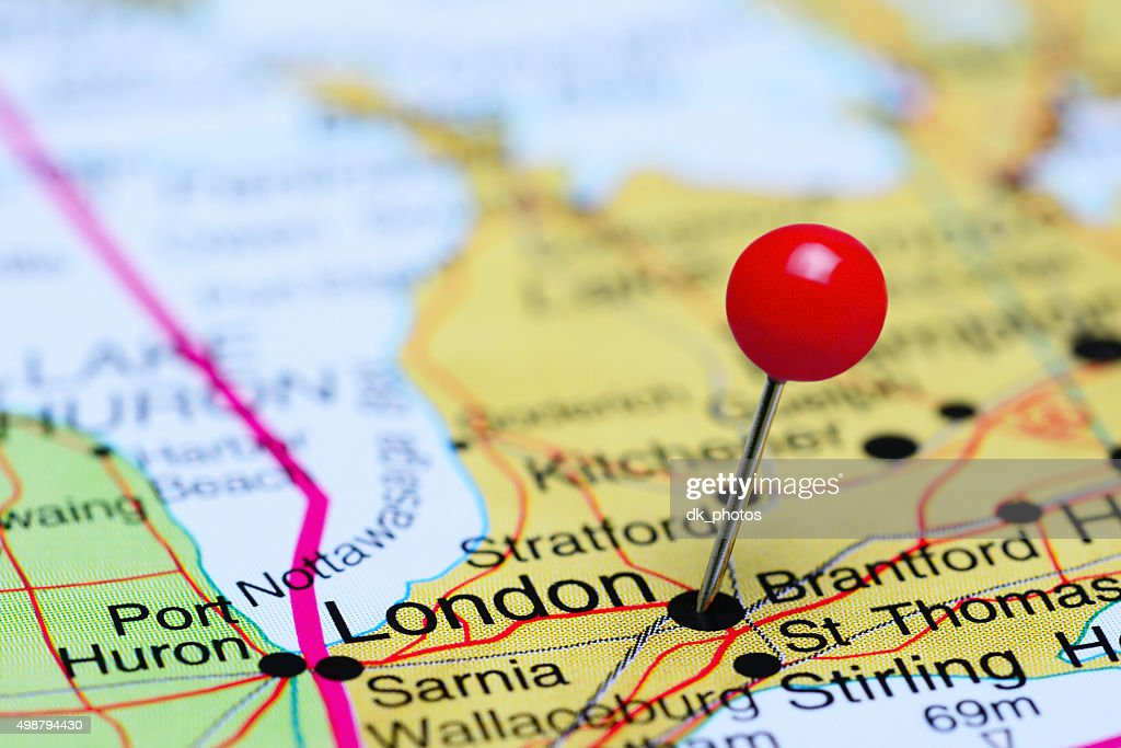 London Pinned On A Map Of Canada Stock Photo Thinkstock