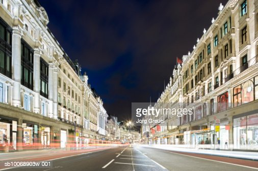 UK, London, Regent Street at night, long exposure