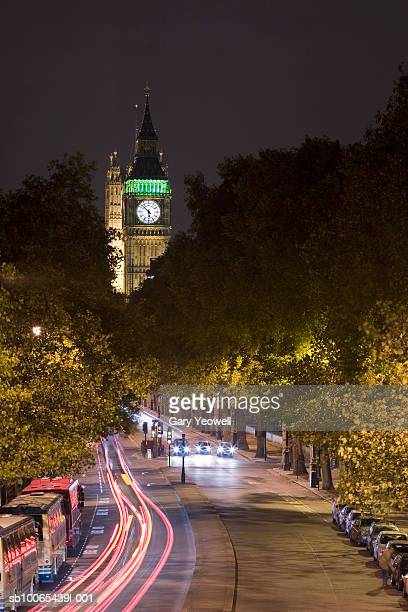UK, London, road with car trails leading to Houses of Parliament and Big Ben at night