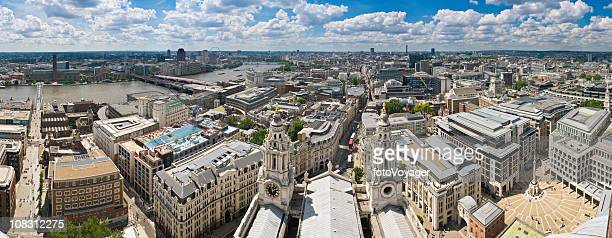 London rooftop panorama City offices Thames landmarks Millenium Bridge Westminster