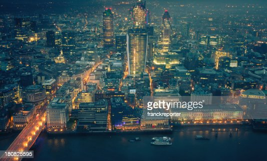 London skyline aerial view on night