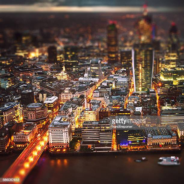 London skyline aerial view on night