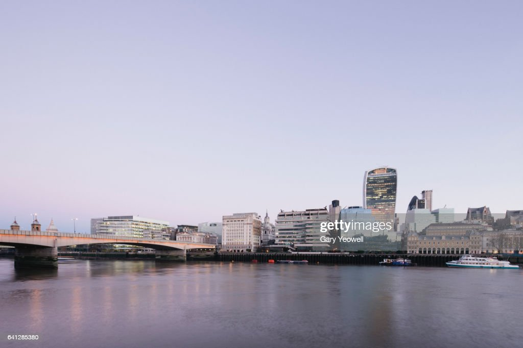 London skyline along River Thames : ストックフォト