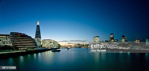 London skyline and River Thames at dusk