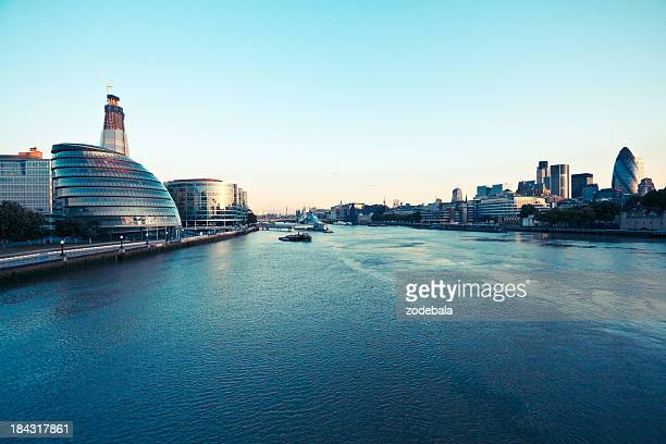 London skyline and Thames River at dawn