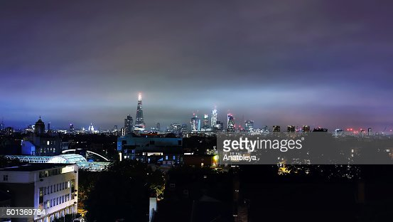 London Skyline at Night from a rooftop
