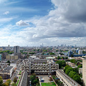 'London skyline, looking from estate towards skyscrapers of The C'