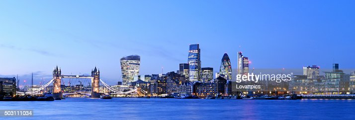 London skyline panoramic nightime view.
