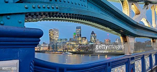 London skyline panoramic nightime view.