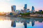 London skyline, city of London at dusk