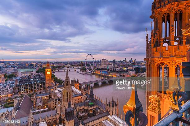 London Skyline seen from Victoria Tower of the Houses of Parliament