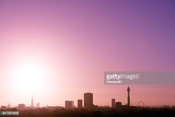 UK, London, skyline with St Pauls Cathedral, The Shard, BT Tower and London Eye in morning light