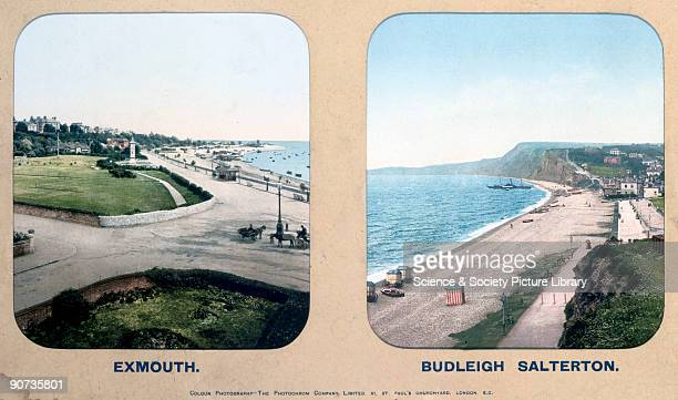 London South Western Railway carriage photographs showing views of the seafront at the popular Devon holiday resorts of Exmouth and Budleigh...