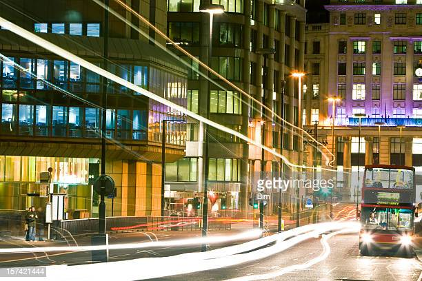 London Street at Night With Double Decker Bus and Traffic