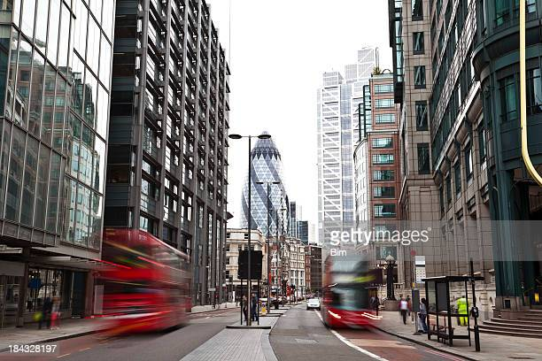 London street with double-decker buses