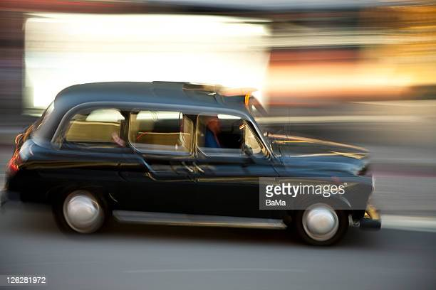 London Taxi Cab Speeding at Evening