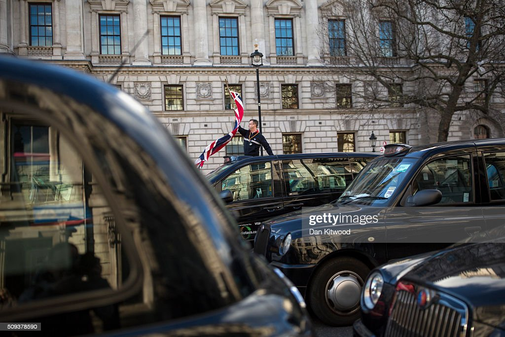 London Taxi drivers stage a protest on Whitehall on February 10, 2016 in London, England. Drivers are claiming that Uber is not subjected to the same stringent regulation requirements as they are and that deregulation of the trade has compromised passenger safety.