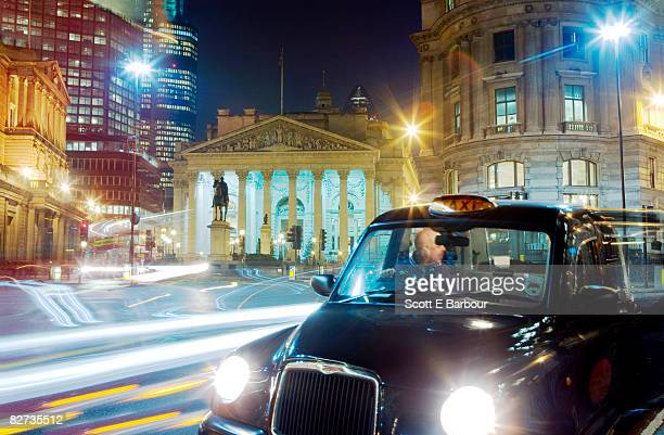 London taxi outside The Royal Exchange London