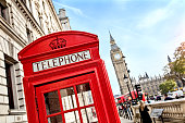 London telephone booth in front of  big ben and the houses of parliament in England