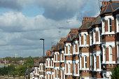 London terraced housing on a hill