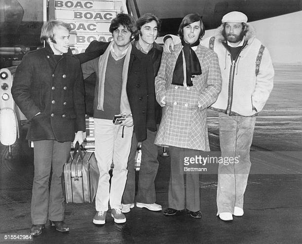 the Beach Boys the American singing group arrive at London Airport from the U S Nov 29 They are Al Jardine Bruce Johnston Dennis Wilson Carl Wilson...