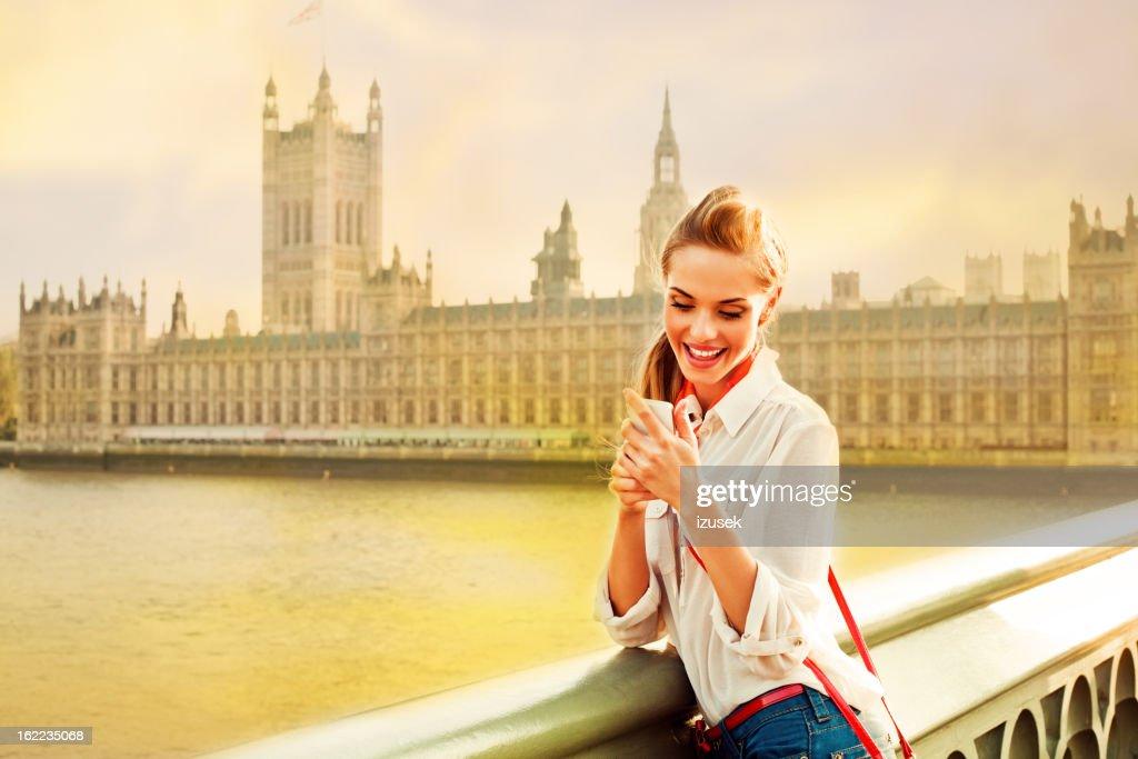 London Tourist with Smart Phone : Stock Photo