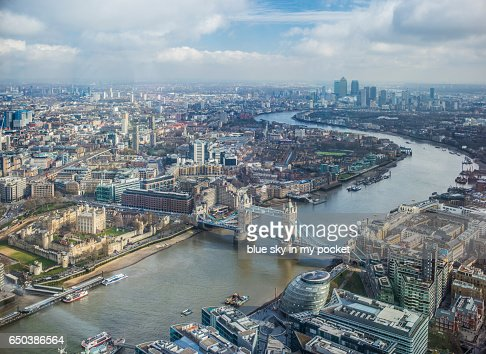 London, Tower Bridge and The River Thames looking east in winter. : Stock Photo