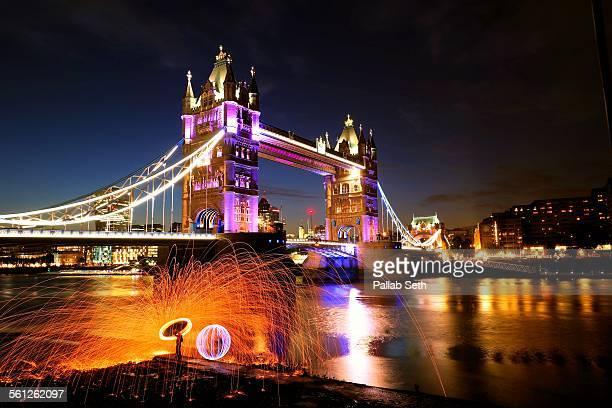 London Tower Bridge on a spring night