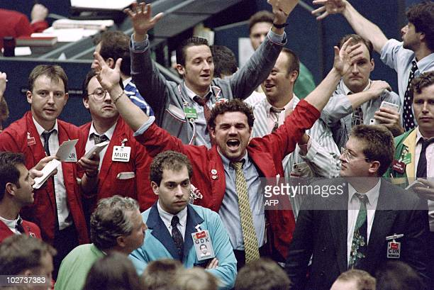 London trader on the floor of the London International Financial Futures and Option Exchange shows his emotion on September 17 1992 while others...