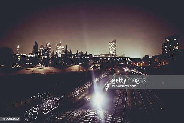 London train at night