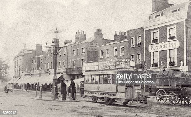 London tram reaches the Clapham terminus of the Clapham Westminster horse tramway