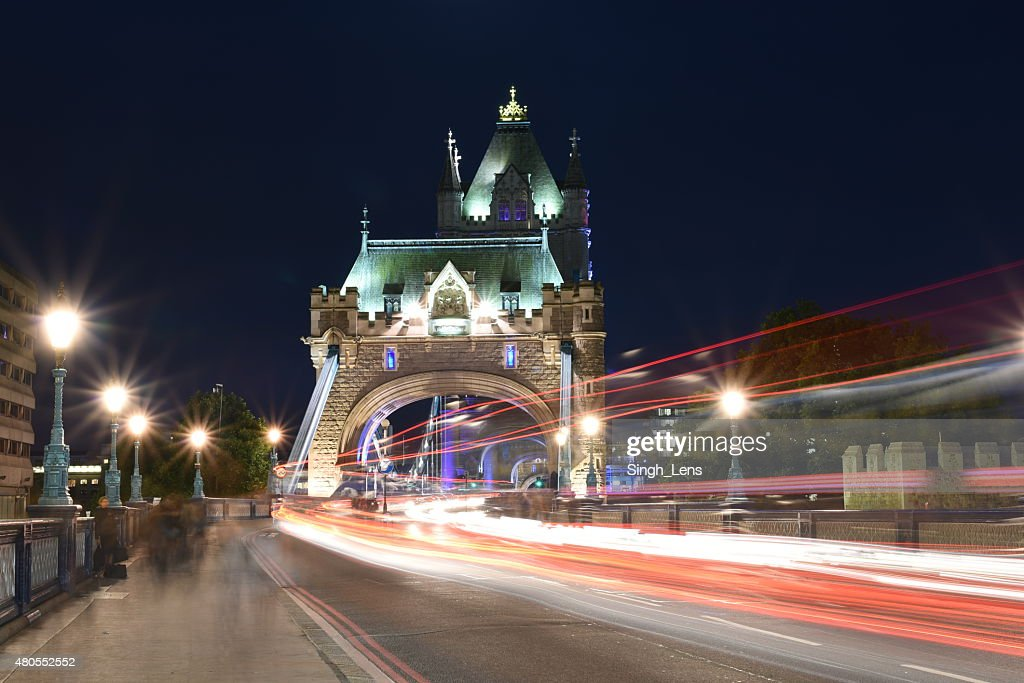 London, UK, Tower Bridge at night : Stock Photo